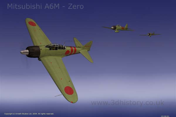 A6M Mitsubishi Zero was a japanese fighter during World War Two.