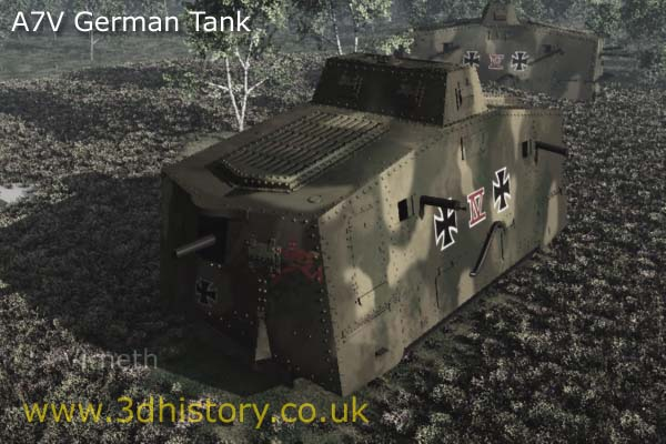 German A7V Tank of World War One was introduced early in 1918.