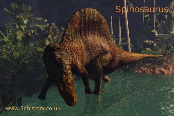 Spinosaurus was a carniverous dinosaur from the Cretaceousperiod around 95 million years ago.