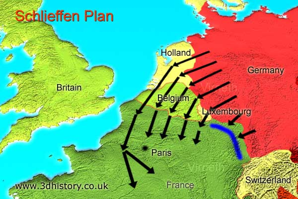 In 1914 Germany feared a war on two fronts against France, Britain and Russia