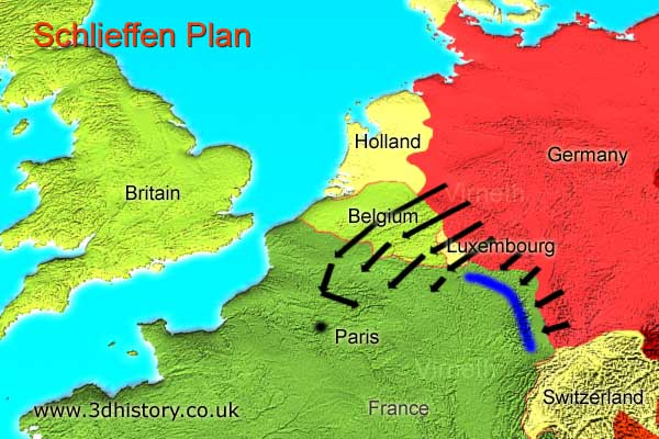 The plan deviated from the original Schlieffen Plan when the German Army turned east to attack the French Army forces concentrated to the east of Paris at the Battle of the Marne..