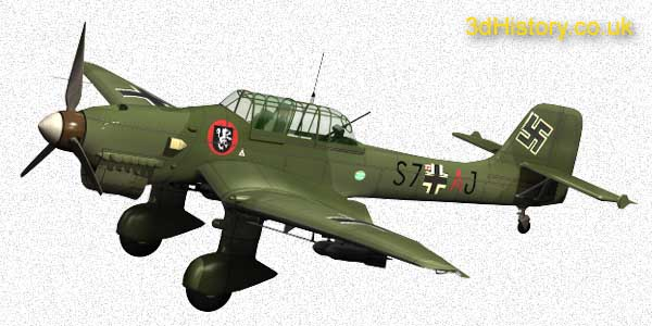 German Junkers 87B Stuka Dive Bomber was withdrawn early in the battle due to its vulnerabilty to fast fighters.
