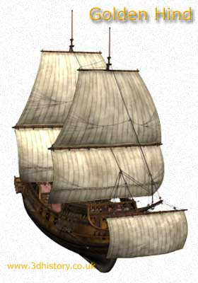 The Golden Hind, a typical Elizabethan Galleon